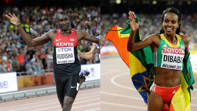Ils atlets David Rudisha e Genzebe Dibaba.