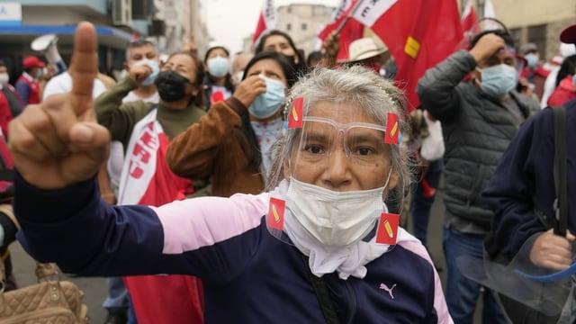 Demonstrierende Menschen.