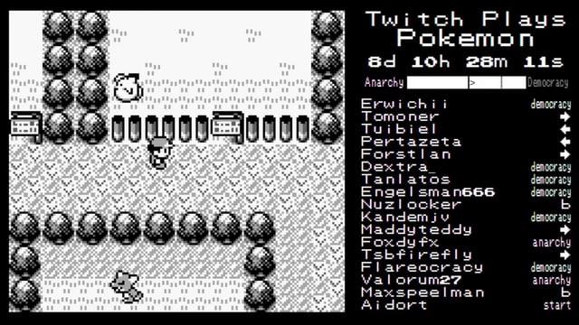 Links das originale Game-Boy-Pokémon, rechts die Befehle der Twitch-Spieler.