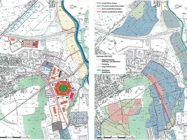 Zwei Karten mit dem Festgelände und der Steinstossarena