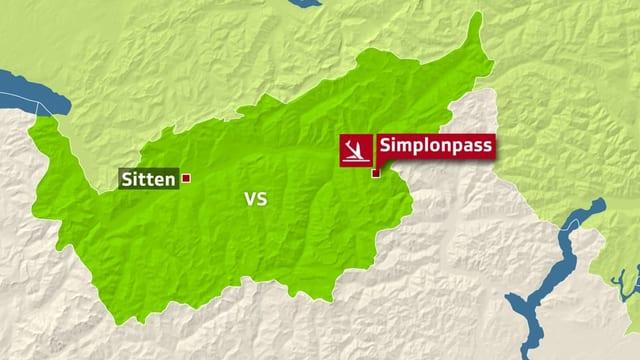 Karte vom Wallis.