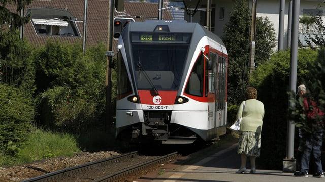 Zug der Zentralbahn bei der Haltestelle Matt in Hergiswil.