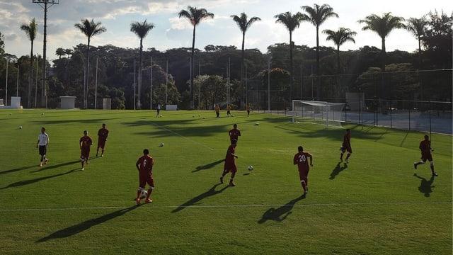 Die Spieler aus Tahiti bei einer Trainingseinheit vor dem ersten Confed-Cup-Spiel.