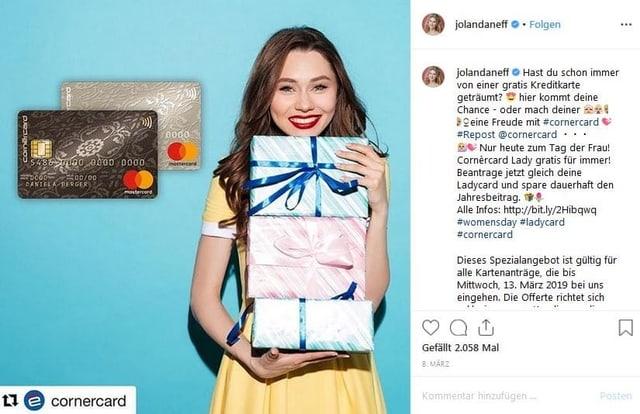 Ein Instagrampost, auf dem eine Kreditkarte beworben wird