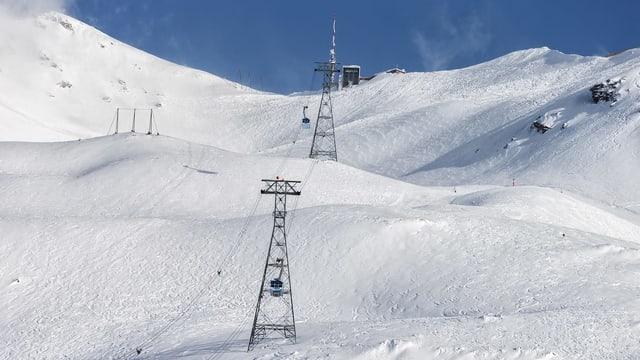 Sguard da sut ensi vers la staziun da muntogna da la Lagalb. Ins vesa dus masts e dus cabinas davant la muntogna alva.