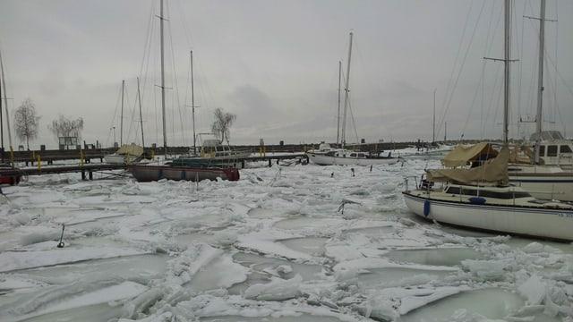 Der Hafen von Yvonand am Neuenburgersee war am 16. Februar 2012 dick zu gefroren.