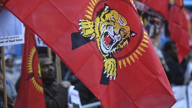 Bandiera cun il logo dals Tamil Tigers.