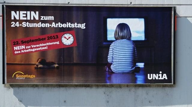 Poster der Unia gegen die Änderung im Arbeitsgesetz