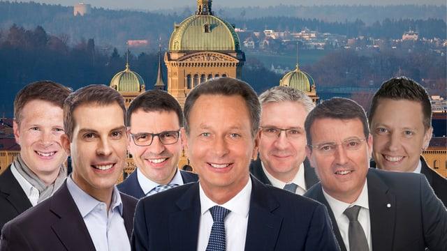 Portrait-Aufnahmen von Politikern vor dem Bundeshaus
