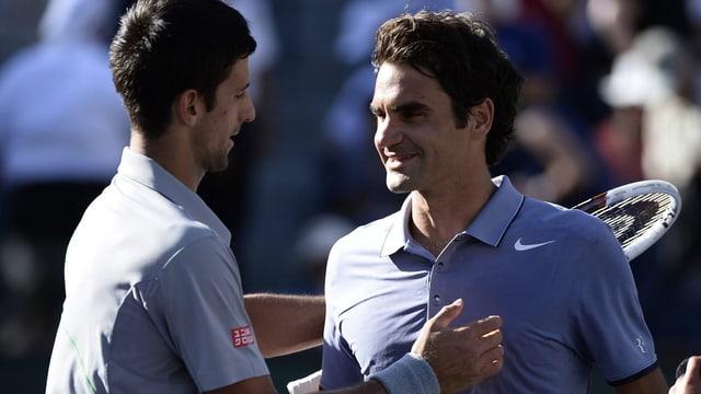 Novak Djokovic und Roger Federer in Indian Wells 2014.
