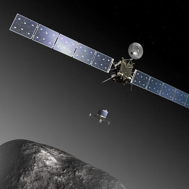 Diese grafische Darstellung zeigt Rosetta im Anflug auf den Kometen 67P/Churyumov–Gerasimenko.