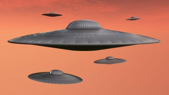 Eine Gruppe UFOs.