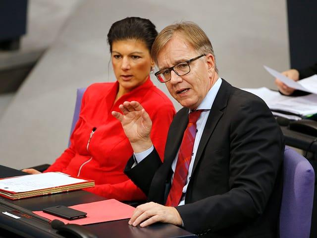 Parteispitzen Sahra Wagenknecht und Dietmar Bartsch.