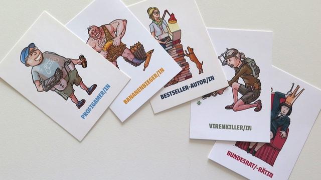 Karten mit Comicfiguren und fiktiven Berufen