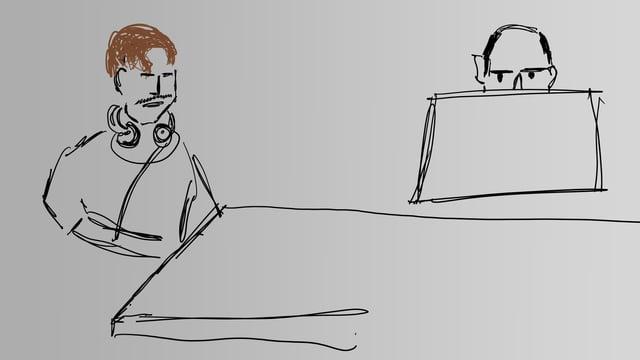Eine Skizze eines Mannes mit Kopfhörern und eines Mannes hinter einem Monitor.