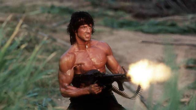 Rambo mit Maschinengewehr