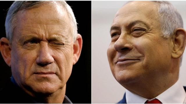 Zwei Einzelbilder von Gantz und Netanjahu.