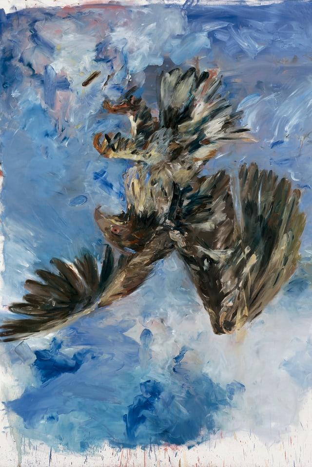 Ein Ölgemälde eines Adlers, der stürzt.