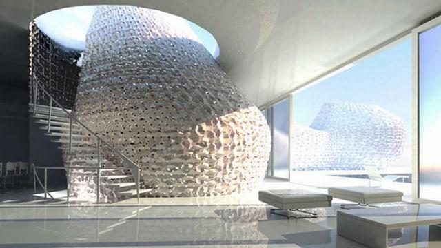 Ein Haus mit einem Raum aus 3D-Druck-Bausteinen.