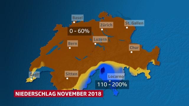 Schweizer Karte, die die unterschiedliche Niederschlagsverteilung im November zeigt.