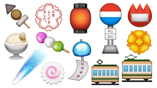 Farbige Emojis ohne Sinn.