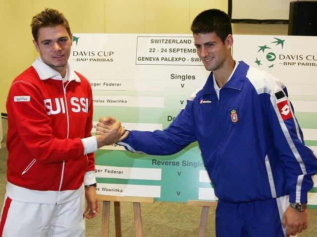 Handshake von Wawrinka und Djokovic vor dem Davis Cup 2006.