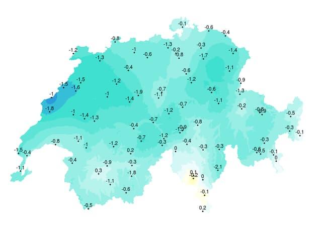Eine Karte mit den Abweichungen in Grad Celsius.