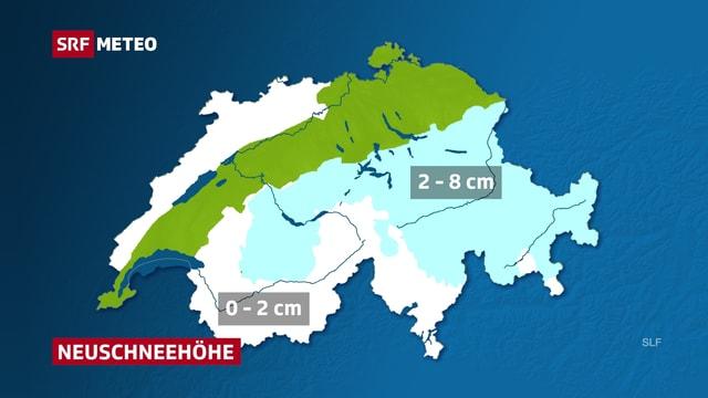Die Karte zeigt in Zahlen die Neuschneemengen der Nacht. In der Zentral- und Ostschweiz und in den Berner Alpen fielen zwischen 2 und 8 Zentimeter Neuschnee.