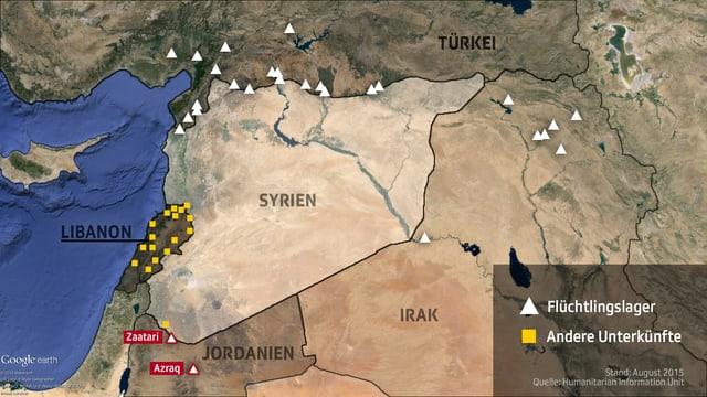 Eine Karte zeigt die verschiedenen Flüchtlingsunterkünfte in den Nachbarsstaaten Syriens.