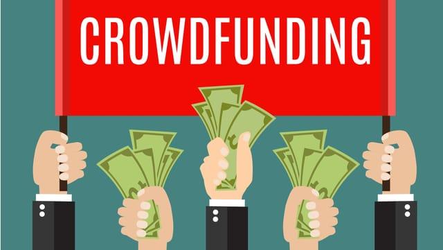 """Grafik: Hände mit Geld vor eine Fahne mit dem Text """"Crowdfunding"""""""