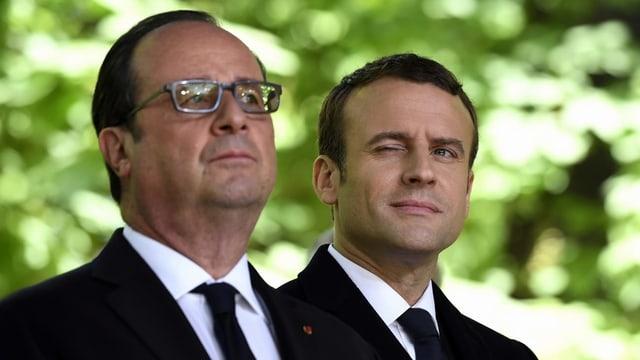 Francois Hollande und Emmanuel Macron