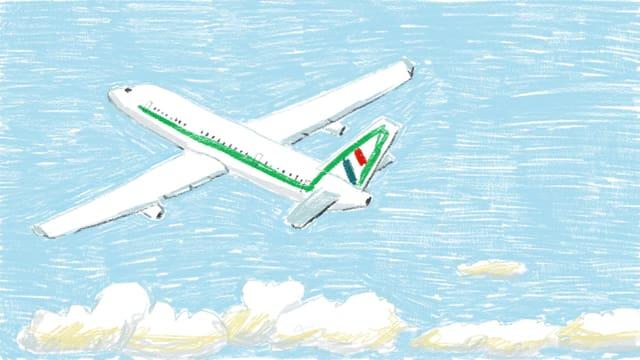 Zeichnung eines Flugzeuges.