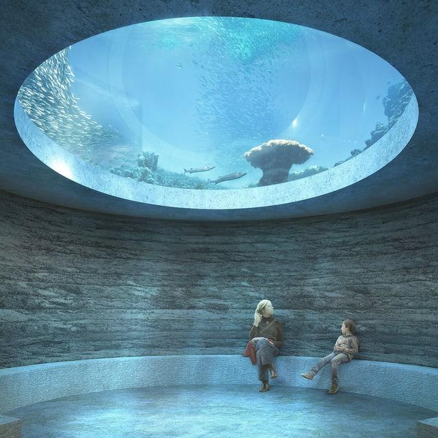 Eine Frau und ein Kind sitzen in einem runden Raum. Über ohrem Kopf öffnet sich die Decke in ein grosses Aquarium.