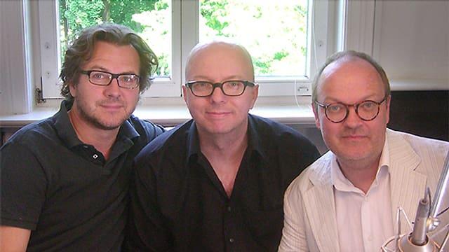 Andreas Fröhlich, Oliver Rohrbeck und Jens Wawrczeck, die seit über 30 Jahren den drei jugendlichen Detektiven der Hörbuchreihe «Die drei ???» ihre Stimme leihen.