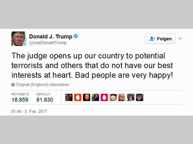 Tweet von Trump.