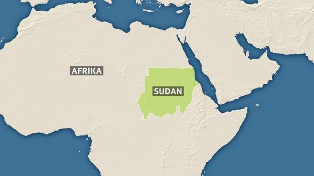 Eine Karte von Afrika mit Sudan