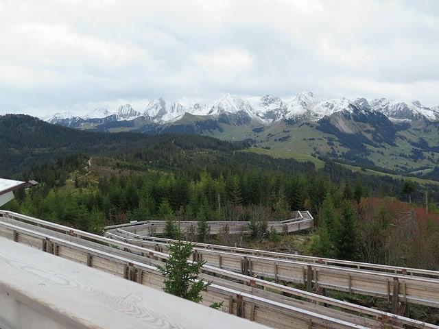 Holzsteg vor Wäldern und Bergen