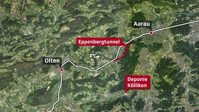 Karte mit Eppenbergtunnel
