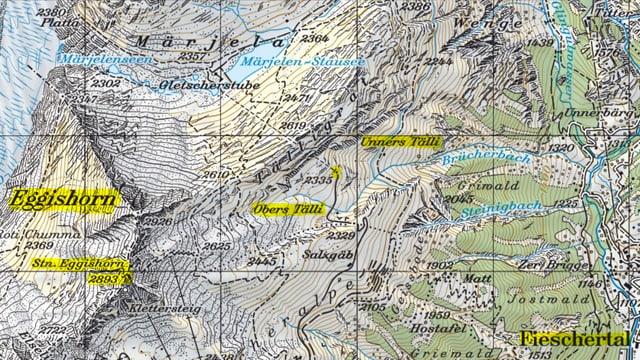 Ausschnitt aus der Landeskarte.
