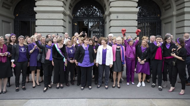 Politikerinnen beim Frauenstreik vor dem Bundeshaus
