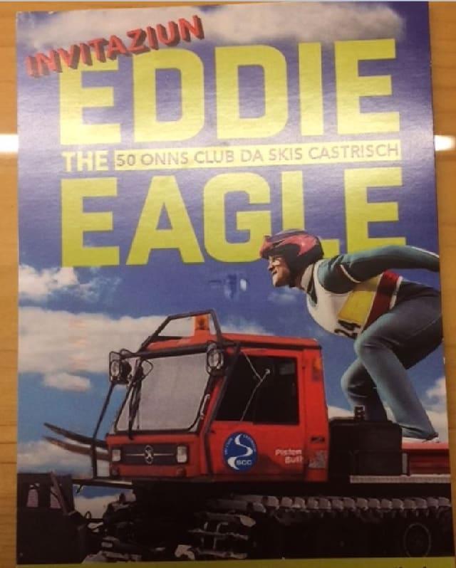 L'invit dal Club da skis Castrisch a la preschentaziun dal film Eddie the eagle.