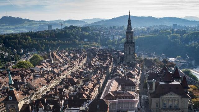 Blick auf das Berner Münster und die untere Altstadt