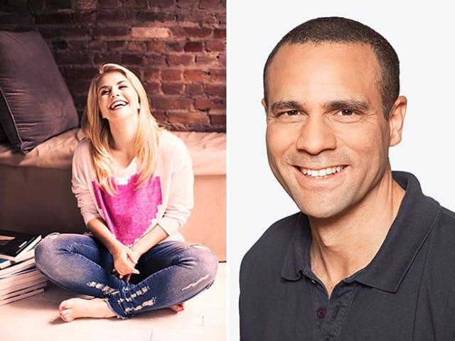 Montage: Beatrice Egli am Boden sitzend und Mike La Marr im Porträt.