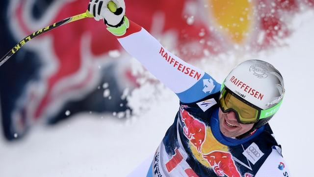 Beat Feuz durant la cursa aval a Kitzbühel.