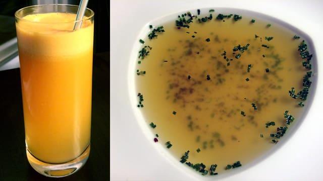 Ein Glas Orangensaft und ein Blick auf einen Teller mit klarer Suppe