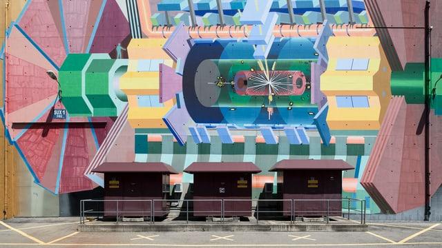Aussenansicht des CERN bei Genf: Wandgemände des Large Hadron Colliders.