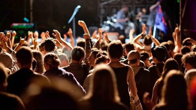 Publikum von hinten, Arme in der Luft, am oberen Bildrand unscharf eine Band.