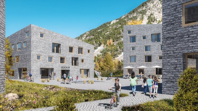 Häuser mit Steinfassade