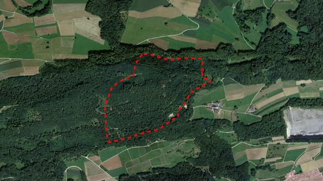 Vogelsicht auf den Aargauer Jura, Ausschnitt Gisliflue