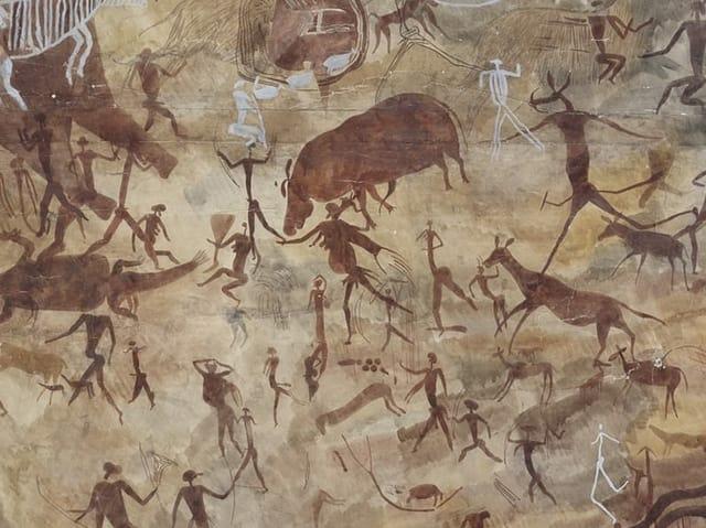 Detail aus dem vorangehenden Gemäle: Kleine Menschen und Tiere.